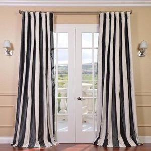 "Striped Curtains Silk Taffeta (Pair) 49""x107"""